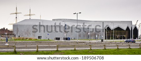GLASGOW, SCOTLAND - JANUARY 4: the exterior of the Riverside Museum on January 4, 2014 in Glasgow, Scotland. The Riverside Museum opened in June 2011 and replaced the city's Transport Museum.