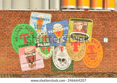 GLASGOW, SCOTLAND - 24 JANUARY 2015: wall mural outside Wellpark Brewery, advertising Tennent's lager