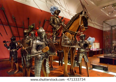 GLASGOW, SCOTLAND - JULY 16, 2016: Armoury in the Kelvingrove Art Gallery and Museum, Argyle Street, Glasgow. It's a popular attraction for the tourists