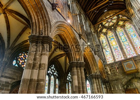 GLASGOW, SCOTLAND - JULY 16, 2016: Interior of the Glasgow Cathedral (High Kirk of Glasgow or St Kentigern's or St Mungo's Cathedral). One of the sights of Glasgow, Scotland