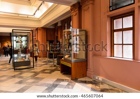 GLASGOW, SCOTLAND - JULY 16, 2016: Interior of the Kelvingrove Art Gallery and Museum, Argyle Street, Glasgow. It's a popular attraction for the tourists