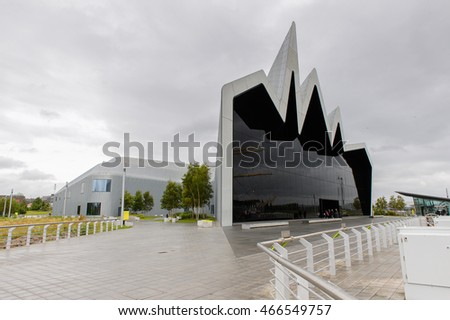 GLASGOW, SCOTLAND - JULY 16, 2016: Riverside Museum (Glasgow Museum of Transport), Glasgow Harbour,  Scotland. It was established in 2011