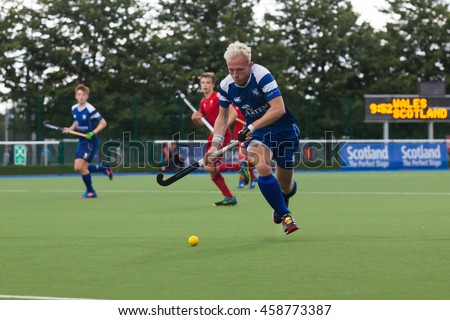 Glasgow, Scotland -  July 24th 2016. EuroHockey Youth championships held at the Glasgow National Hockey Centre. Match between Scotland and Wales U18 men.