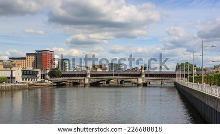 GLASGOW, SCOTLAND - JULY 28:  The view along the River Clyde in Glasgow, Scotland pictured on July 28, 2014.