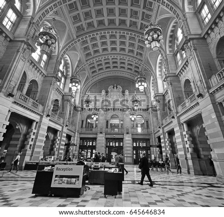 GLASGOW, SCOTLAND - MAY 9 2017: Kelvingrove Art Gallery and Museum, Glasgow is a museum and art gallery and is one of Scotland's most popular visitor attractions.