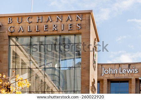 GLASGOW, SCOTLAND - OCTOBER 14: Buchanan Galleries shopping centre on October 14, 2014 in Glasgow, Scotland. Glasgow is the largest city in Scotland.