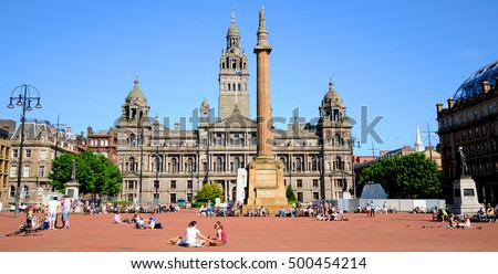GLASGOW SCOTLAND UK-MAY 27: George Square, Glasgow,UK on may 27 2012. George Square is the principal civic square in the city of Glasgow, Scotland. It is named after King George III.
