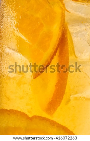 glass abstract background with orange slices