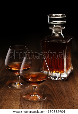 glass and bottle - stock photo