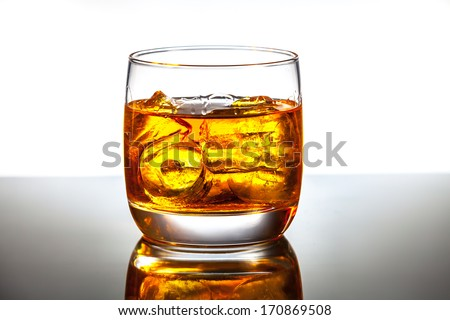 Glass and bottle of hard liquor like scotch, bourbon, whiskey or brandy