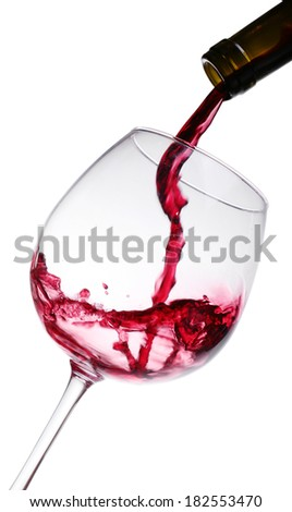 Glass and bottle of red wine - stock photo