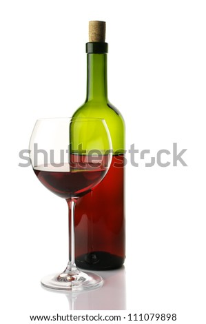 Glass and bottle of red wine isolated on white background. - stock photo