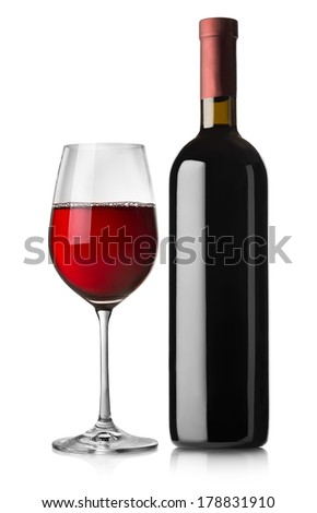 Glass and bottle of red wine isolated on white background - stock photo