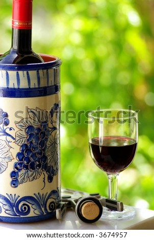Glass and bottle of  wine produced in the region Alentejo, Portugal. - stock photo