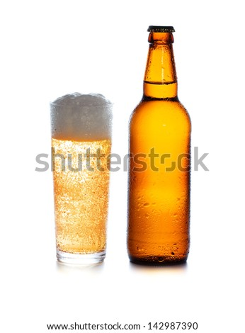 glass and Bottle with Beer