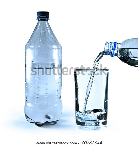Glass and bottle with pure water over white