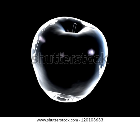 Glass apple on a dark background - 3D made