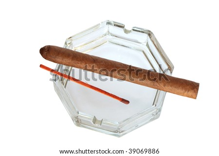 Glass ashtray with cuban cigar and long wooden match isolated on white with clipping path