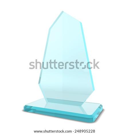 Glass award. 3d illustration isolated on white background - stock photo