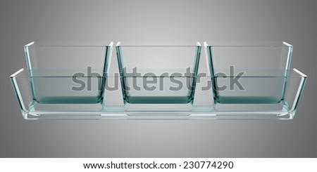 glass baking dishes isolated on gray background - stock photo