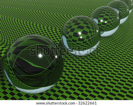 glass ball abstract background. 3d
