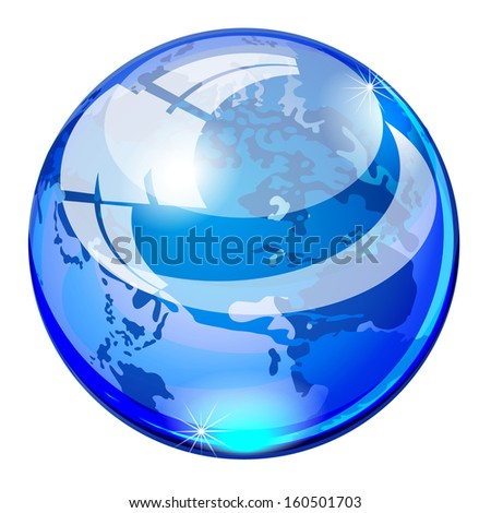 glass ball blue planet earth, globe, world map isolated on white background raster