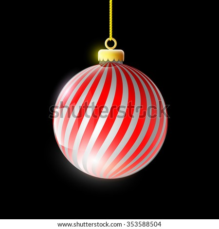 Glass ball decoration Christmas tree. Isolated on a black background. Stock image. - stock photo