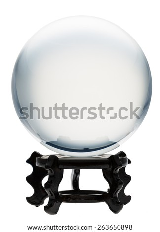 Glass ball isolated on white - stock photo
