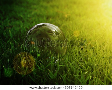 Glass ball on green grass in sunset dark light - stock photo