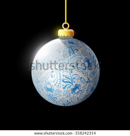 Glass ball with ornament. Decoration Christmas tree. Isolated on a black background. Stock illustration. - stock photo
