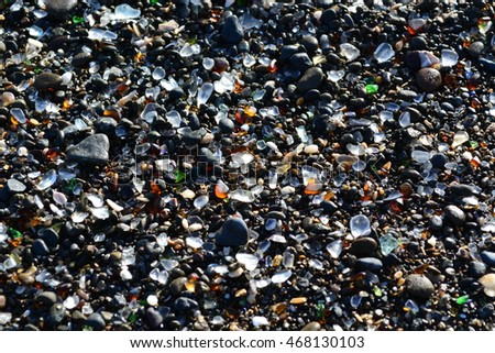 Glass Beach, Fort Bragg, Northern California shore view of wave washed old garbage