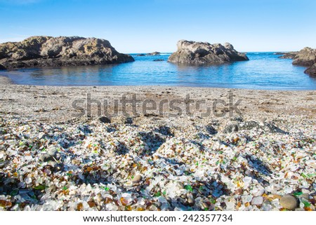 Glass Beach in the national park Makkerriher (California, USA). Pacific Coast