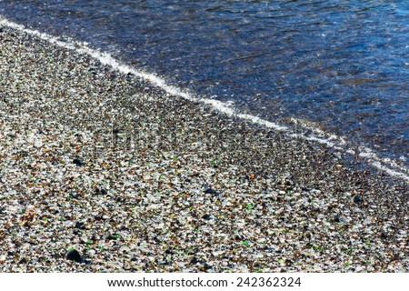 Glass Beach in the national park Makkerriher (California, USA). Pacific Coast - stock photo