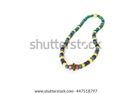 Glass bead necklace ancient stone on a white background,Krabi, Thailand