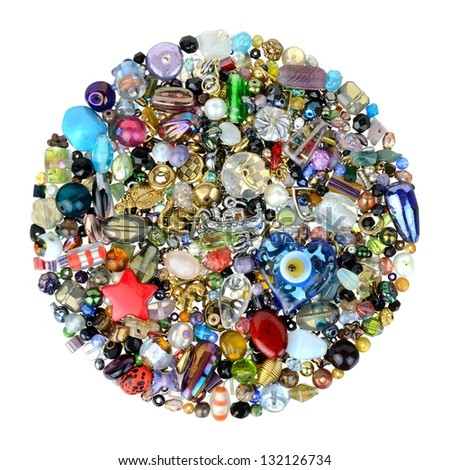 glass beads and charms for jewelry making - stock photo