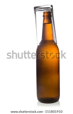 Glass beer bottles isolated on white background.
