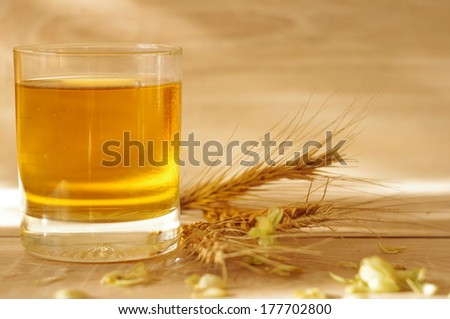 Glass beer or whiskey with cereal and hop on wooden background with copyspace - stock photo