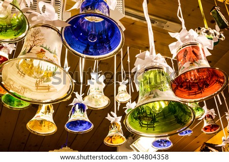 Glass bells, Christmas New year decoration - stock photo