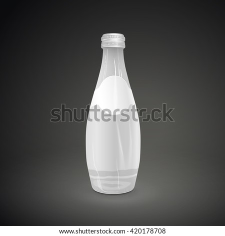 glass beverage bottle with blank label isolated on black background. 3D illustration. - stock photo