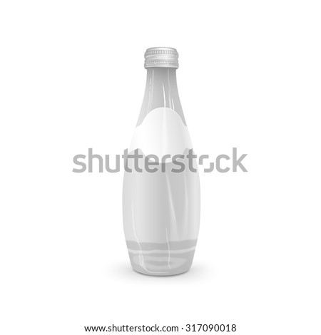 glass beverage bottle with blank label isolated on white background - stock photo