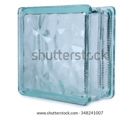 Glass block for building on white background