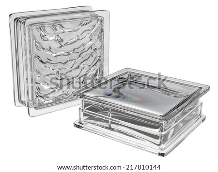 Glass blocks isolated on white - stock photo