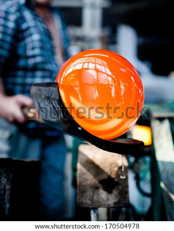 glass blowing in factory