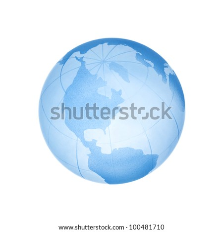 Glass blue globe isolated on white.
