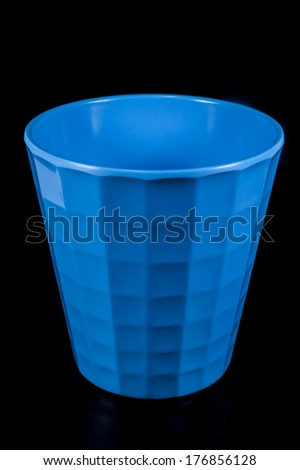 Glass blue on black background - stock photo