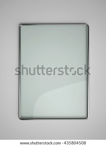 Glass board with glossy metal frame on the wall. 3D rendering - stock photo