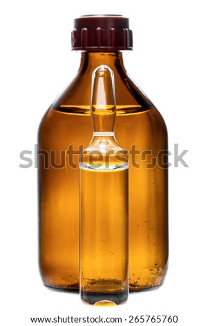 Glass bottle and ampoule for a medicinal preparation and treatment of diseases, capacity for medicines, nobody. - stock photo