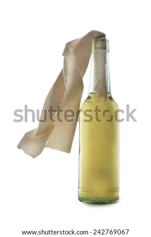 Glass bottle filled with gasoline, a so called Molotov Cocktail, isolated on white background