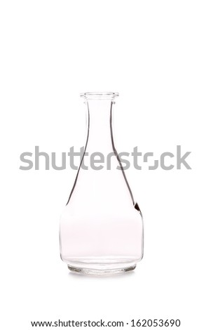 Glass bottle for oil or vinegar. Isolated on a white background.