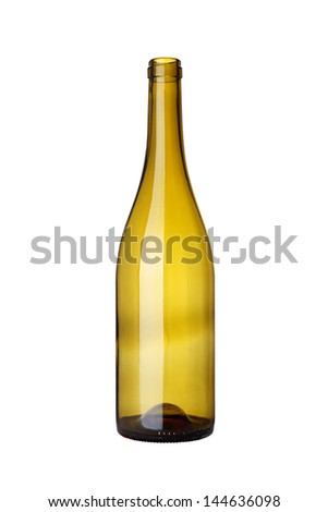 glass bottle for wine on white background
